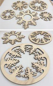 Laserschneiden von Dekoration aus Pappelsperrholz