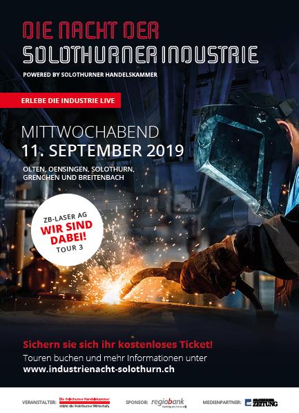 Nacht der Solothurner Industrie am Mittwoch, 11. November. Tour 3 ab Olten mit ZB-Laser AG Schönenwerd